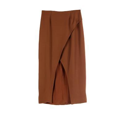 wrap style midi skirt brown